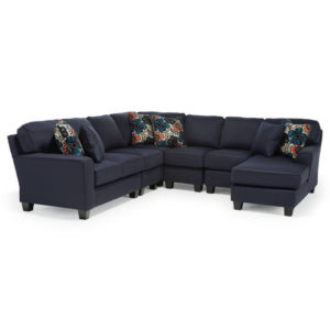 Annabel Sloped Arm Sectional, best home furnishings, custom sectional, customizable sectional, chaise sofa, family room furniture, modern sectional, modular sectional