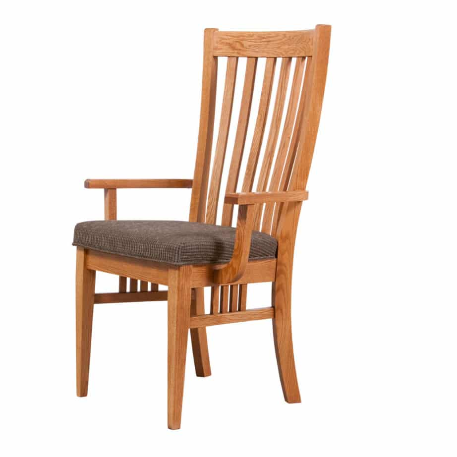 bedford arm chair, Dining room, dining room furniture, solid wood, solid oak, solid maple, custom, custom furniture, dining chair, made in Canada, Canadian made
