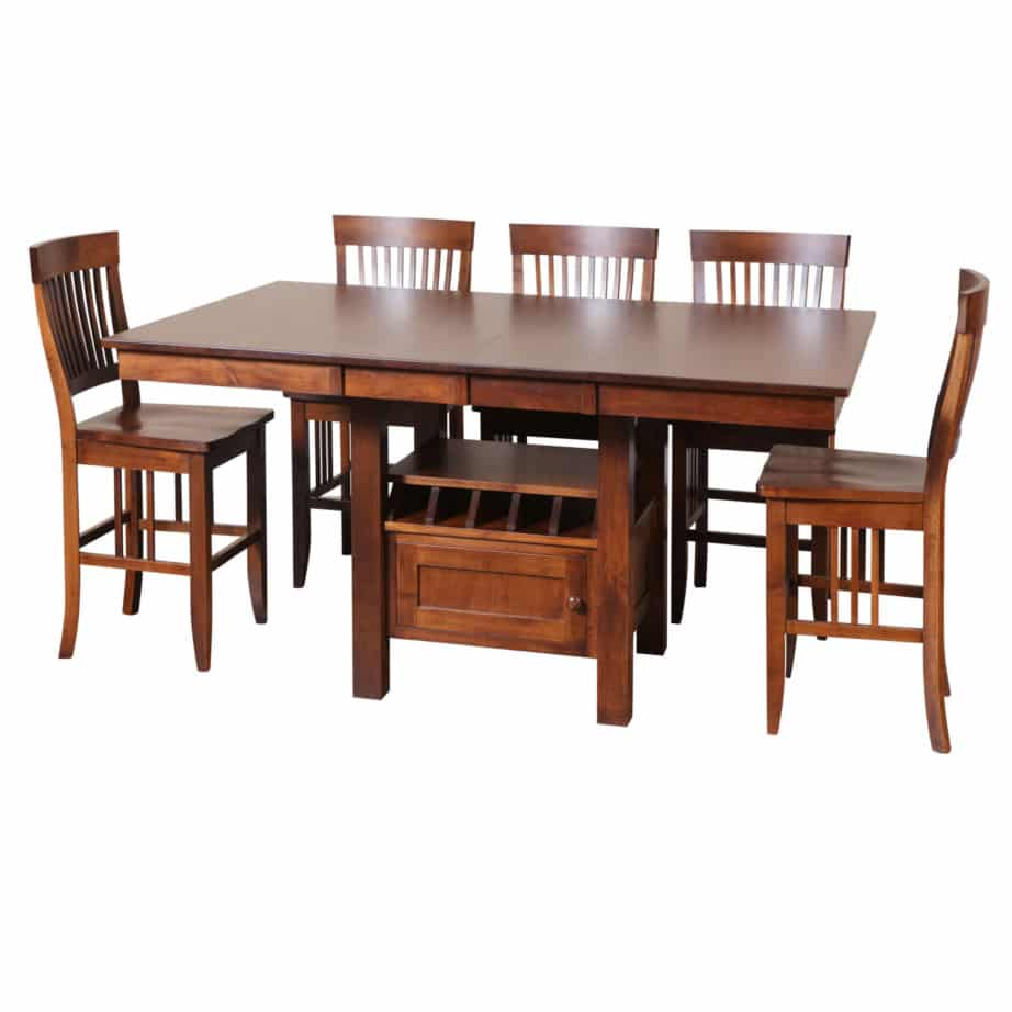 cafe gathering table, Dining room, dining room furniture, solid wood, solid oak, solid maple, custom, custom furniture, dining table, dining chair, made in Canada, Canadian made, pub table, bar table, storage, storage ideas