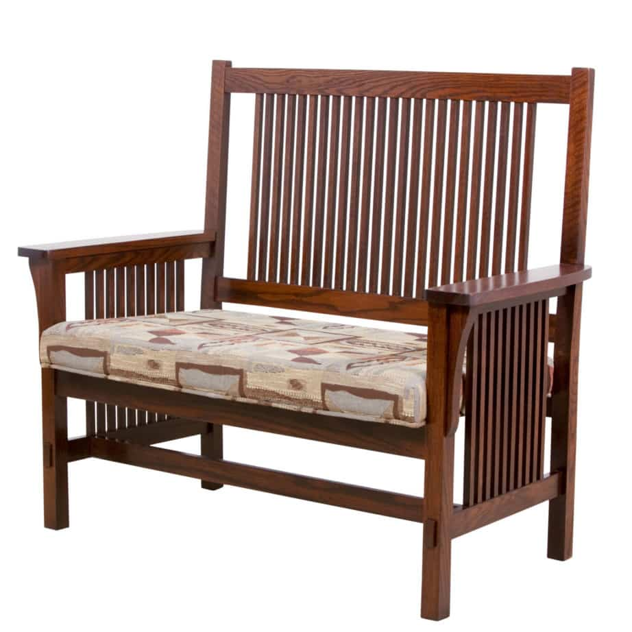 mission entry bench, furniture, solid wood, solid oak, solid maple, custom, custom furniture, bench, made in Canada, Canadian made, entry bench, entry, foyer, upholstery