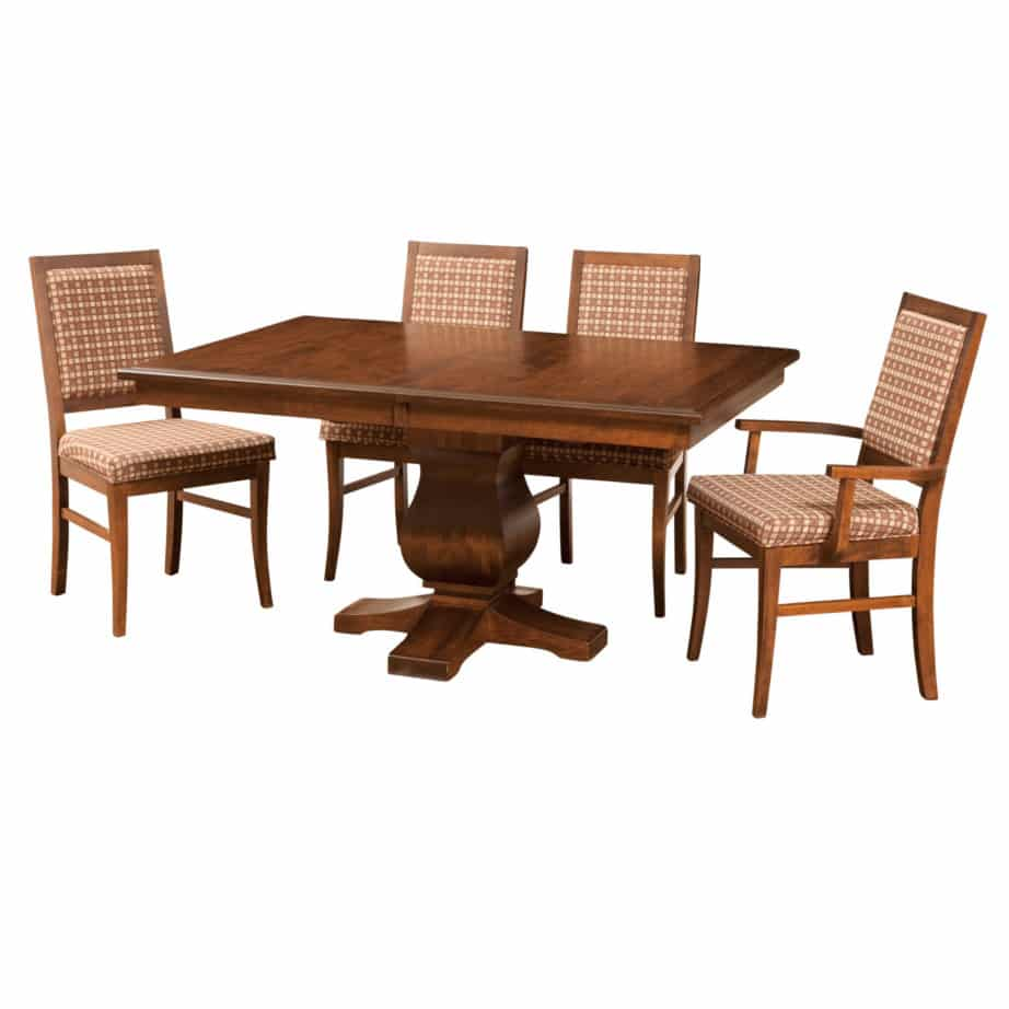 morgan pedestal table, Dining room, dining room furniture, solid wood, solid oak, solid maple, custom, custom furniture, dining table, dining chair, made in Canada, Canadian made