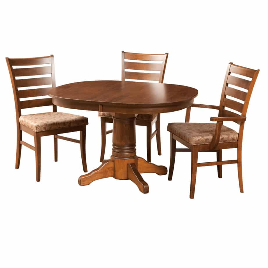 square round table, Dining room, dining room furniture, solid wood, solid oak, solid maple, custom, custom furniture, dining table, dining chair, made in Canada, Canadian made