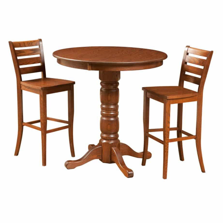traditional pub table, Dining room, dining room furniture, solid wood, solid oak, solid maple, custom, custom furniture, dining table, dining chair, made in Canada, Canadian made, pub table, bar table