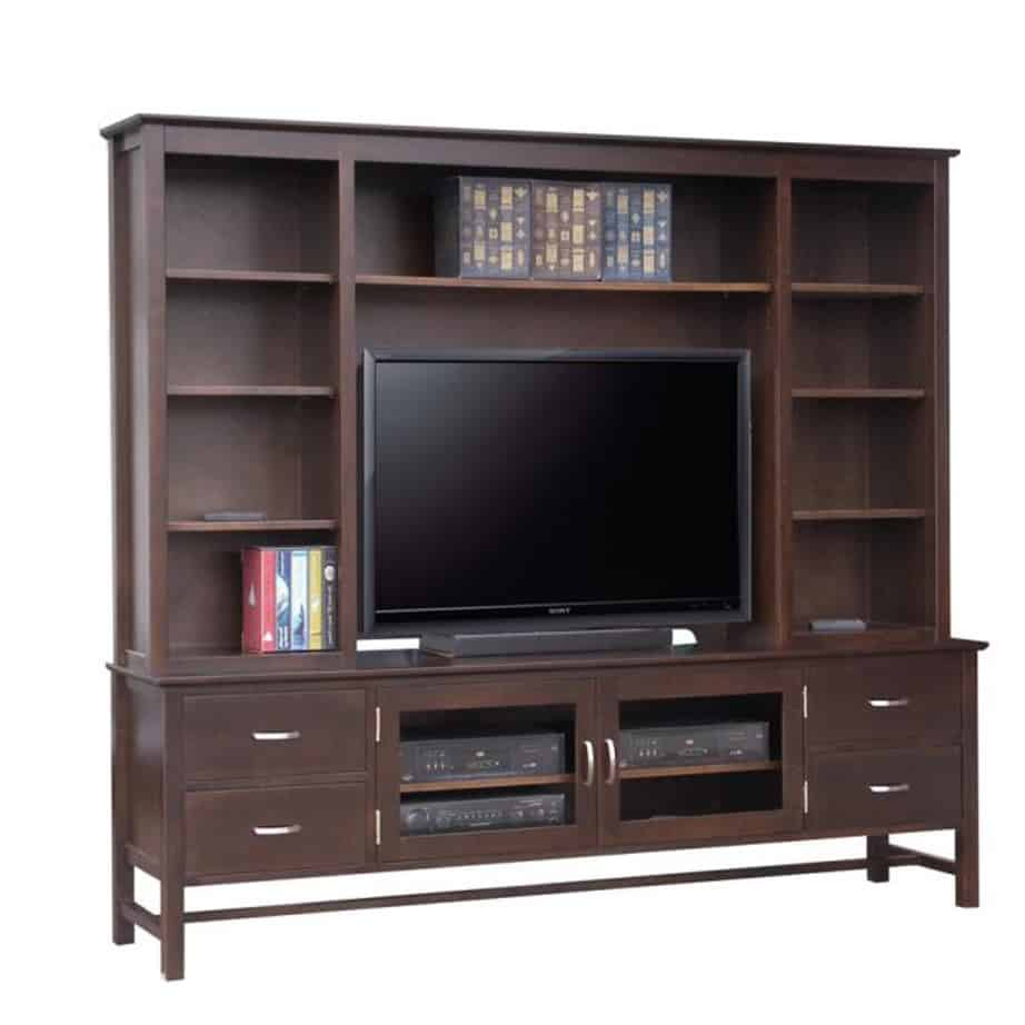 brooklyn wall unit, living room, living room furniture, console, tv console, wall unit, tv, hdtv, storage, storage ideas, solid wood, made in Canada, Canadian made, maple, oak, cherry, solid maple, heritage maple, solid oak, solid cherry, rustic, rustic design, drawer, drawers, shelves, storage solutions, custom, custom furniture