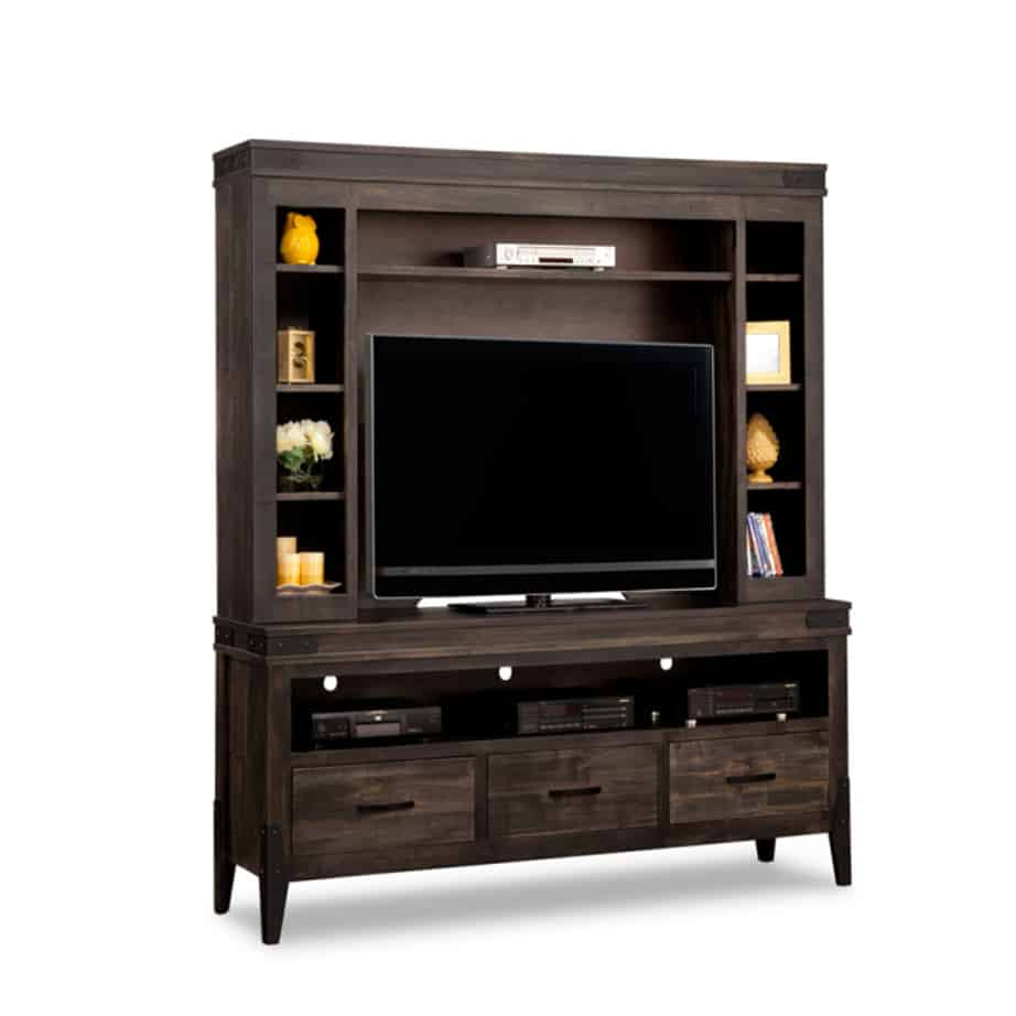 chattanooga 74 wall unit, living room, living room furniture, console, tv console, wall unit, tv, hdtv, storage, storage ideas, solid wood, made in Canada, Canadian made, maple, oak, cherry, solid maple, heritage maple, solid oak, solid cherry, rustic, rustic design, drawer, drawers, shelves, storage solutions, custom, custom furniture