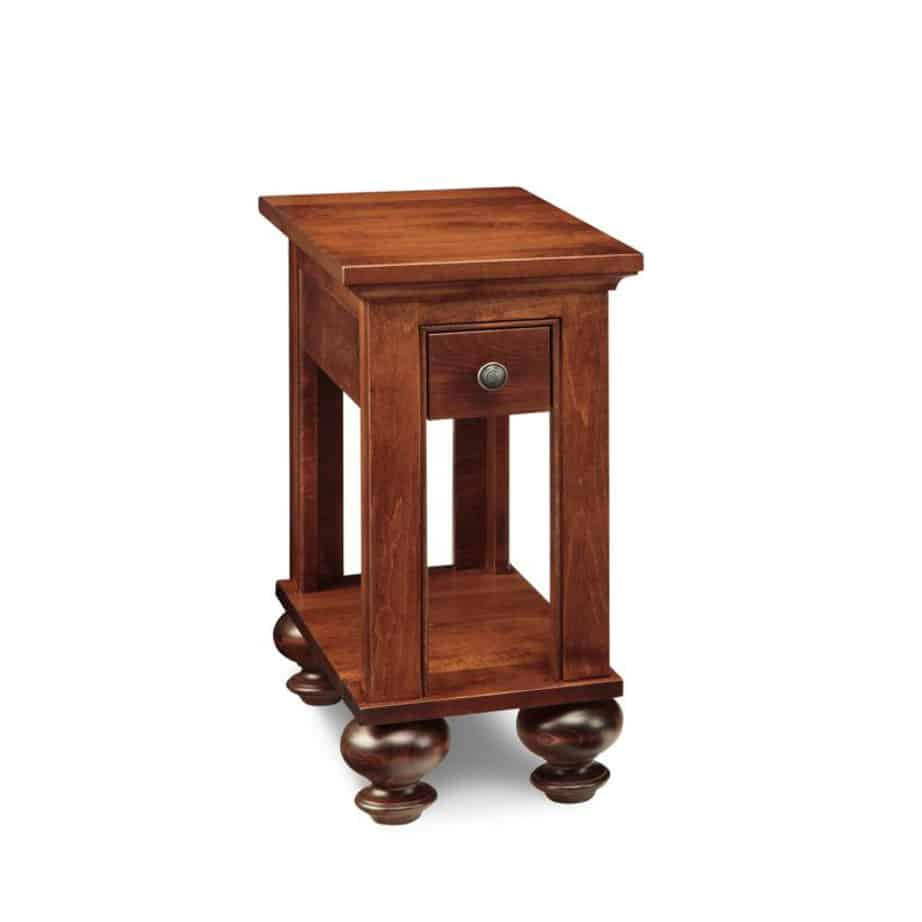 Georgetown Chairside Table, living room, living room furniture, rustic maple, heritage maple, solid maple, solid oak, solid wood, made in canada, canadian made, custom furniture, customizable, storage ideas, storage, drawers, occasional, occasional furniture, end table, chairside table