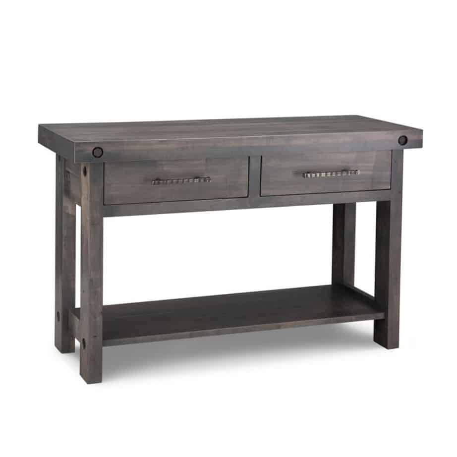 rafters sofa table, living room, living room furniture, rustic maple, heritage maple, solid maple, solid oak, solid wood, made in canada, canadian made, custom furniture, customizable, storage ideas, storage, drawers, occasional, occasional furniture, sofa table