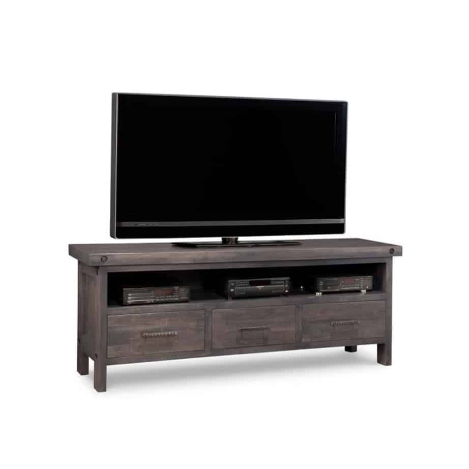 rafters 72 tv console, living room, living room furniture, console, tv console, tv, hdtv, storage, storage ideas, solid wood, made in Canada, Canadian made, maple, oak, cherry, solid maple, heritage maple, solid oak, solid cherry, rustic, rustic design, drawer, drawers, shelves, storage solutions, custom, custom furniture, entertainment