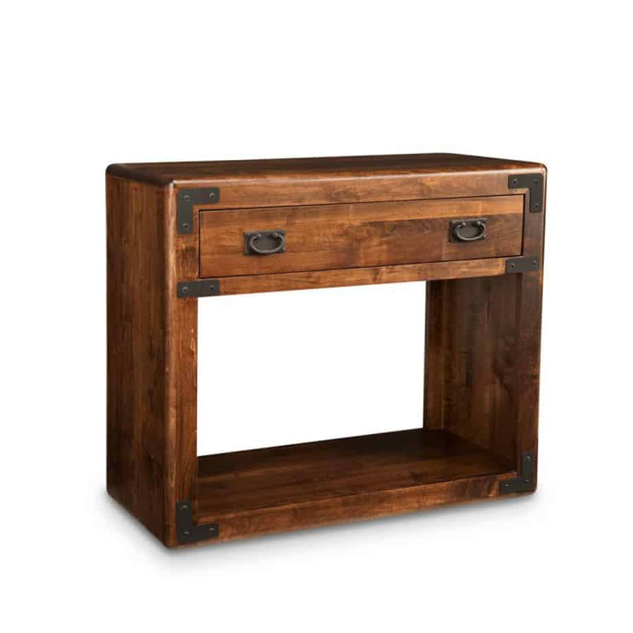 living room, living room furniture, rustic maple, heritage maple, solid maple, solid oak, solid wood, made in canada, canadian made, custom furniture, customizable, storage ideas, storage, drawers, occasional, occasional furniture, sofa table