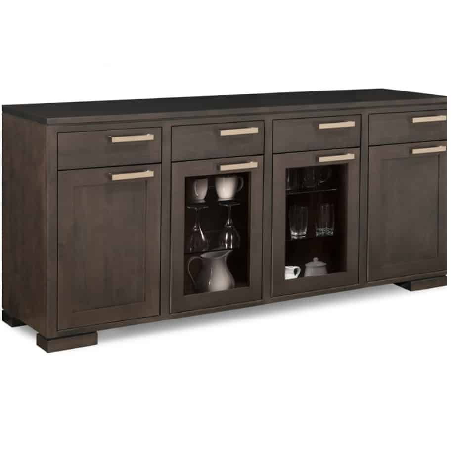 Cordova large display sideboard, large sideboard, glass sideboard, sideboard, furniture, solid wood, Special order, Handstone, Dining room, Home furnishing, Cordova, made in Canada, built to order, solid wood furniture, cabinets, storage cabinets