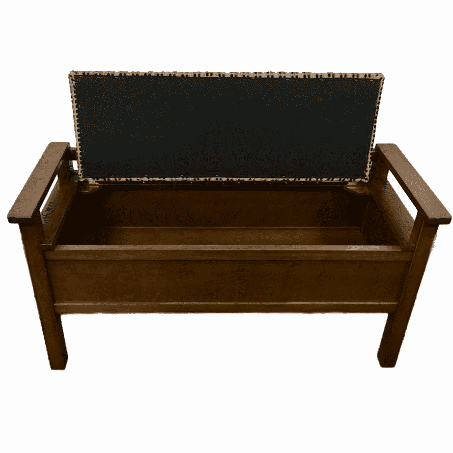 Straight Back Bench, oakridge, Accents, Entry Benches, entryway, fabric, hallway, made in canada, maple, oak, rustic, seating, solid wood, storage, useful, storage ideas, hallway ideas, simple, Straight Back Bench - Open