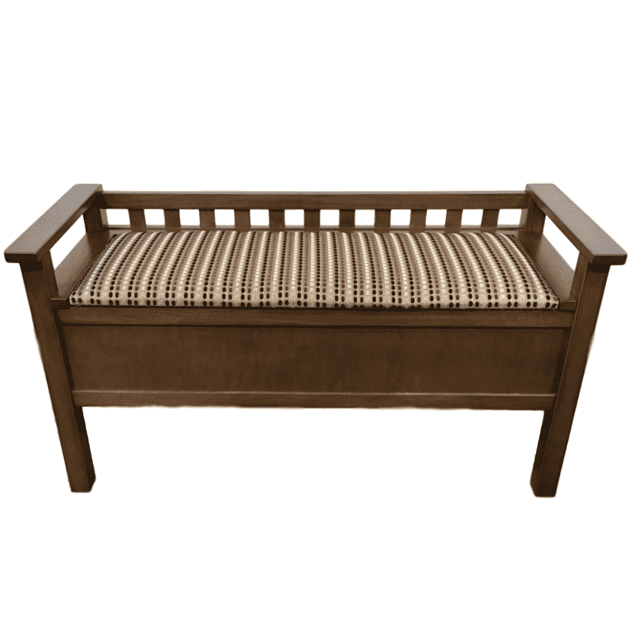 Straight Back Bench, oakridge, Accents, Entry Benches, entryway, fabric, hallway, made in canada, maple, oak, rustic, seating, solid wood, storage, useful, storage ideas, hallway ideas, simple