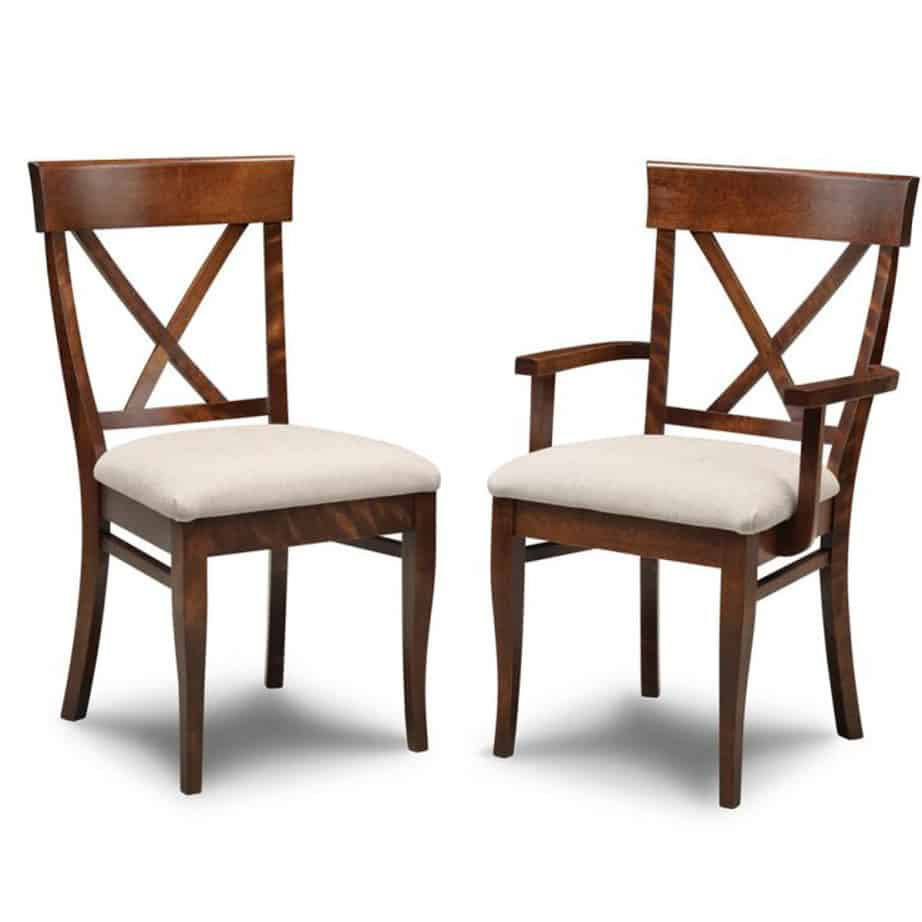 florence x back dining chair, dining furniture, Style furniture, modern design furniture, dining furniture, dining table, florence, handmade to order , customizable, made in Canada, distressed finish, Florence chairs, dining chairs, , craftsman furniture, amish style furniture, contemporary, handmade, rustic, distressed, simple, customizable, Solid Rustic Maple, seat, upholstered