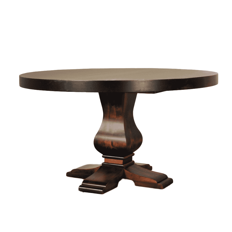 granada round table, Dining room, table, dining table, solid wood, maple, rustic maple, made in Canada, pedestal, custom, custom furniture, round, round table, granada