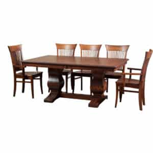 morgan trestle table, Dining room, dining room furniture, solid wood, solid oak, solid maple, custom, custom furniture, dining table, dining chair, made in Canada, Canadian made