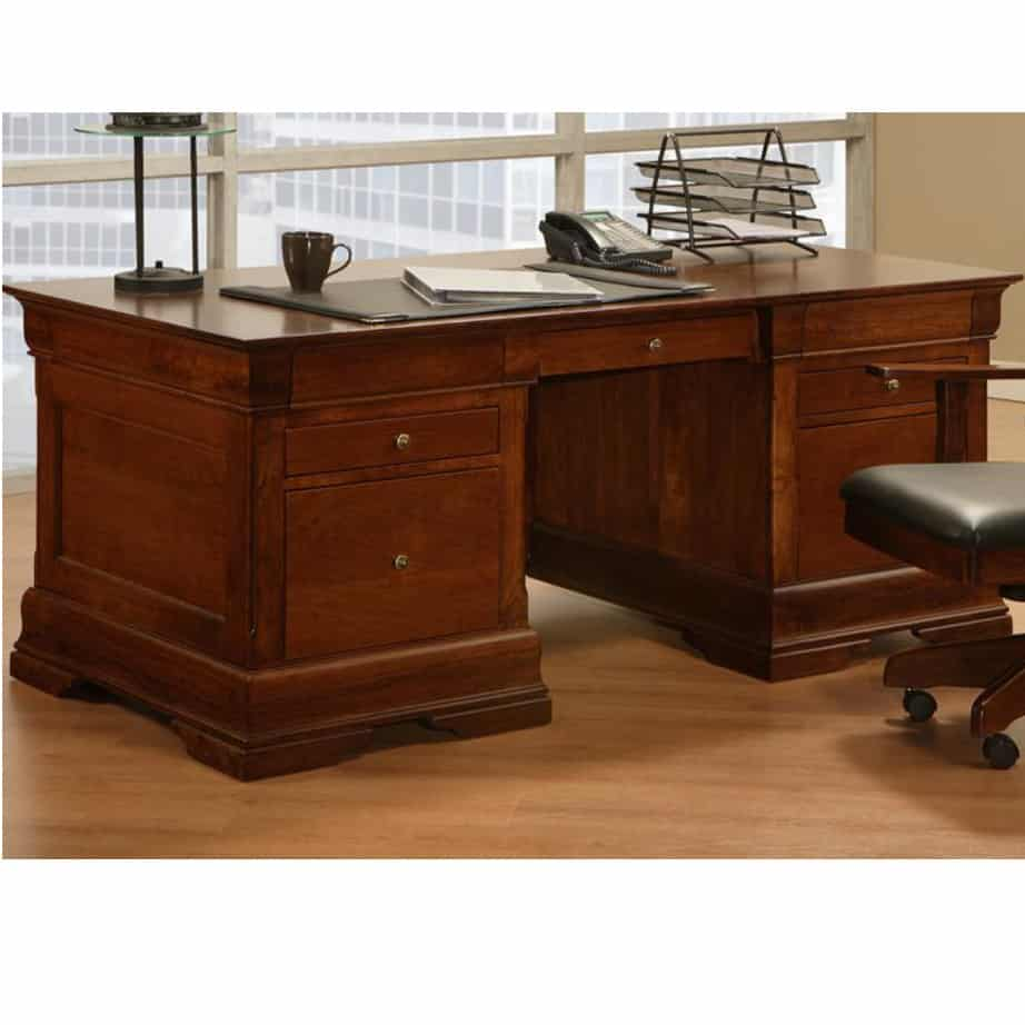 Home Office, Desks, cherry, computer, distressed, made in canada, maple, oak, rustic, solid wood, workstation, office ideas, classic, storage ideas, hand stone, Phillipe Executive Desk, Executive Desk
