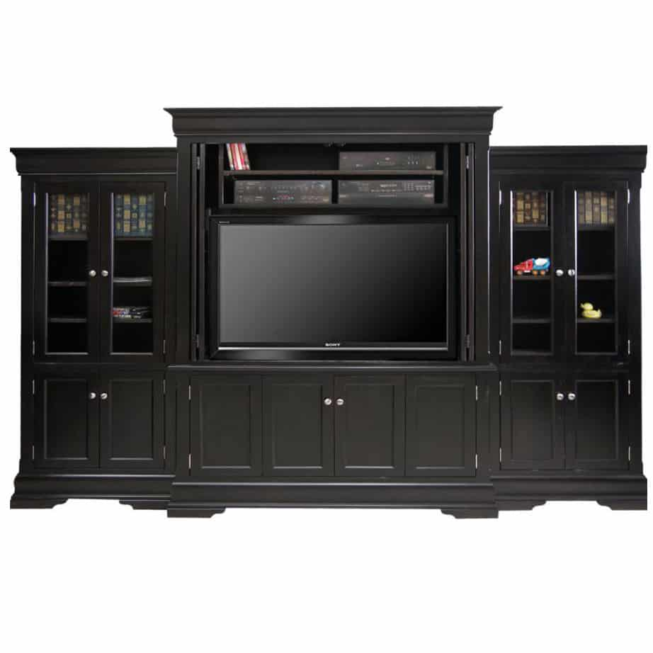 phillipe wall unit with folding doors, Entertainment, TV Consoles, contemporary, custom cabinet, HDTV, made in canada, maple, modern, oak, rustic, solid wood, tv, other Sizes Available, Glass, Simple, Living Room, Studio TV Console, storage ideas, custom, wall unit, Phillipe