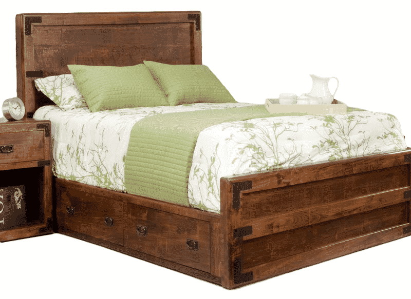 saratoga bed, bedroom, bedroom furniture, custom, custom furniture, bed, storage bed, storage ideas, small space, solid wood, maple, rustic maple, rustic wood, amish design, oak, cherry, saratoga low profile bed