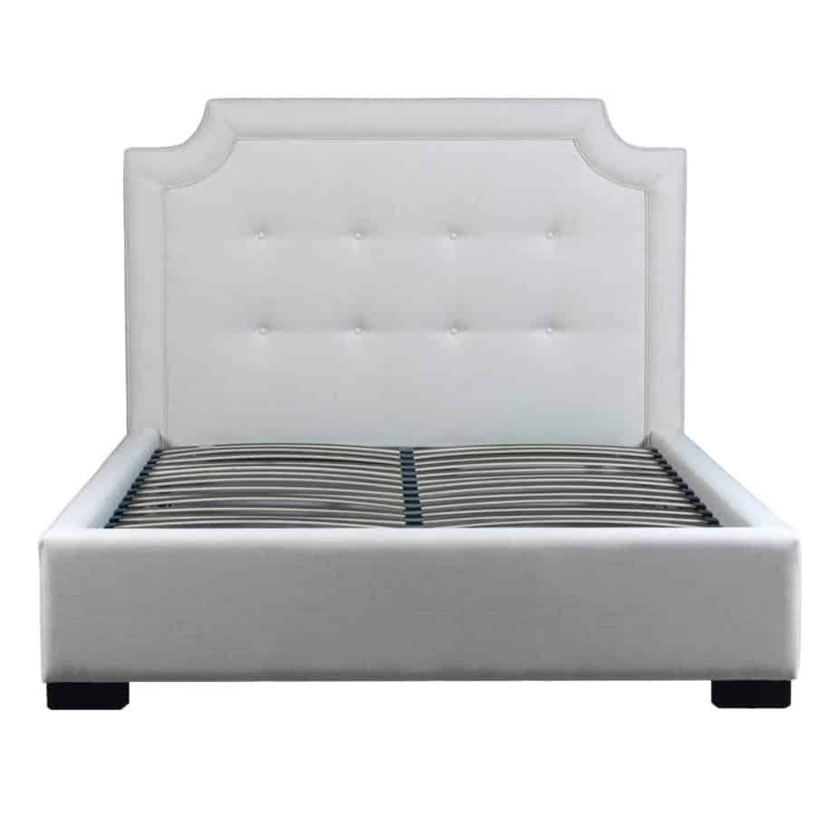 Scarlett Upholstered Bed, bedroom, bedroom furniture, custom, custom furniture, bed, storage bed, upholstery, upholstered bed, condo, made in Canada, Canadian made,