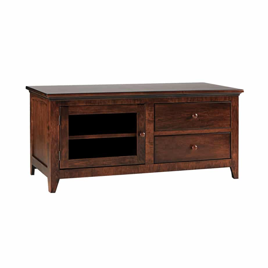 Shaker Low 48 TV Console, console, Shaker Tapered leg console , small tv console, TV unit small, small furniture, made in Canada, solid wood furniture