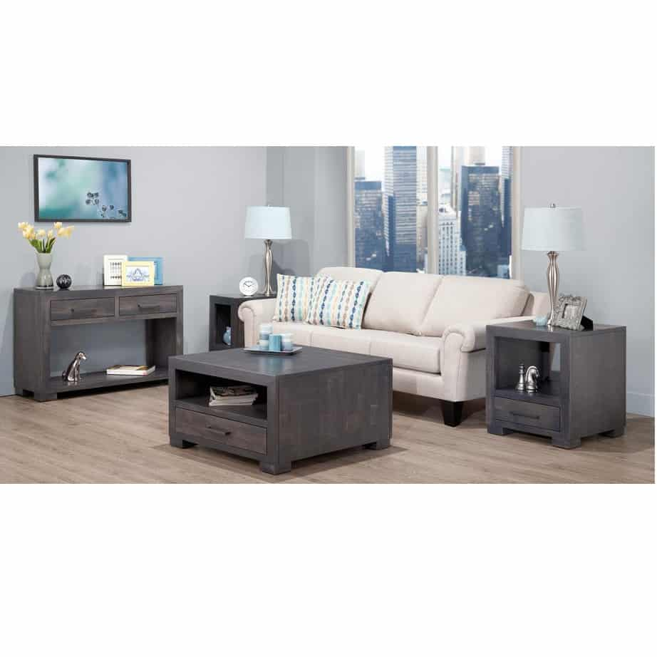 Living Room, Occasional, End Table, Accents, Accent Furniture, made in canada, maple, oak, rustic, side table, solid wood, living room ideas, simple, unique, custom, custom furniture, coffee table, end table, sofa table, steel city, collection