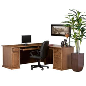Traditional workstation desk, workstation desk, workstation, made in canada, workstation with storage