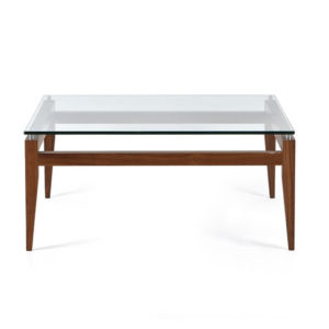 Occasional, End Table, Accents, Accent Furniture, birch, contemporary, made in canada, mid century, modern, solid wood, walnut, living room ideas, unique, modern, verbois, custom stain, simple, Living Room, coffee table, glass, glass shelf, rectangle, square, Alex Coffee Table