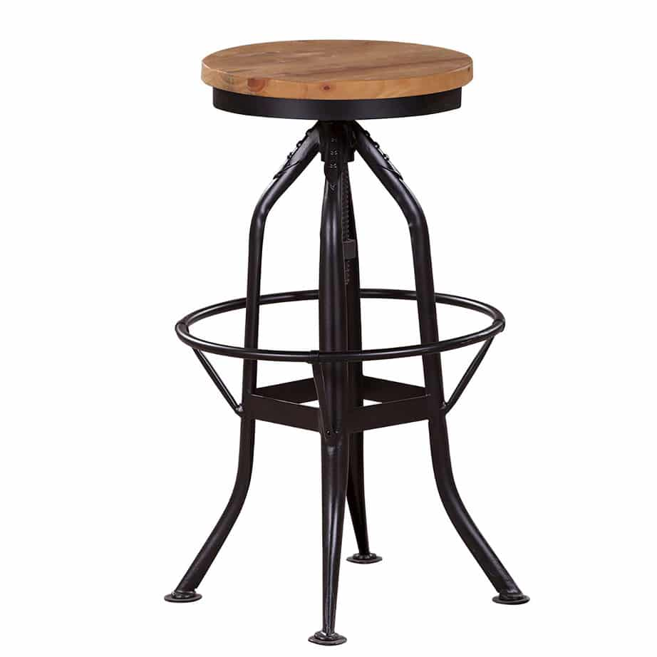 Alfresco Industrial Stool, solid wood, metal base, steel base, swivel, adjustable height, natural wood, solid wood, rustic wood, modern, urban, kitchen, bar, pub, island