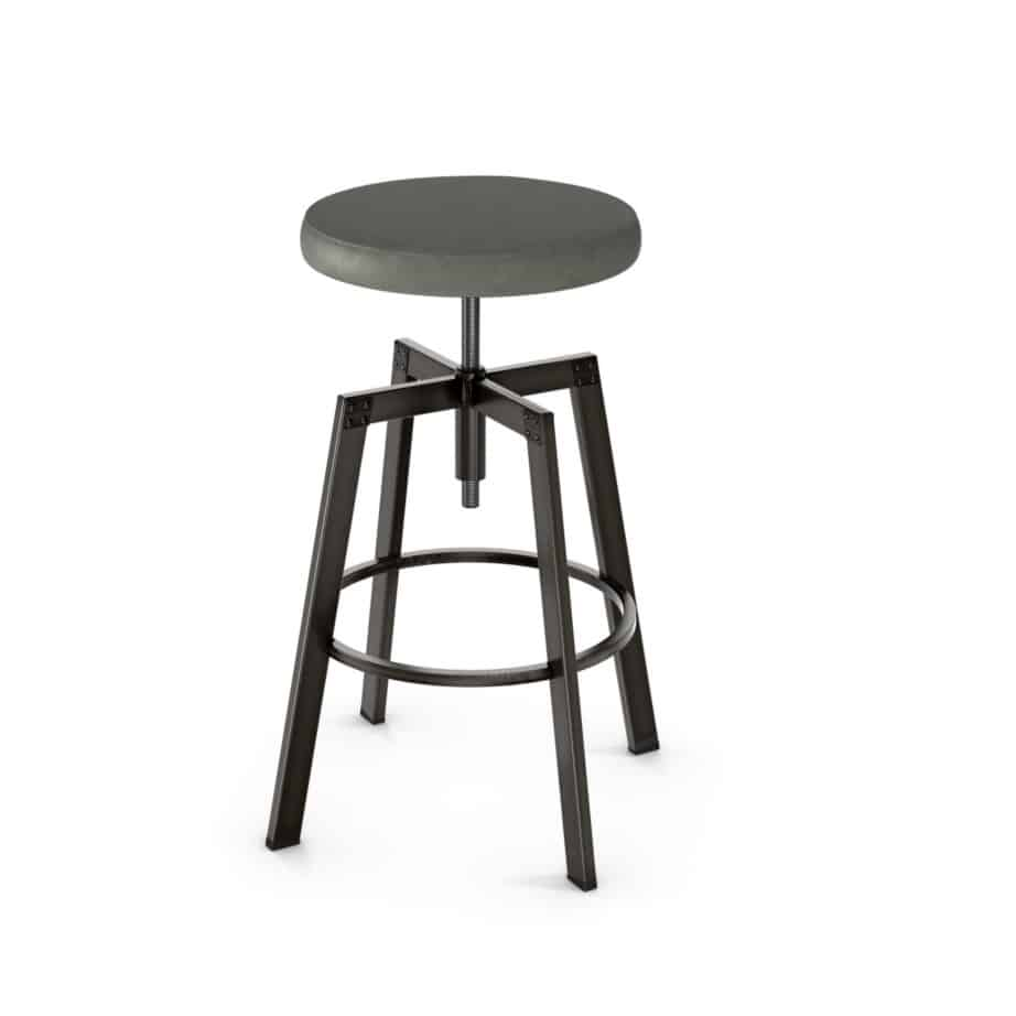 custom stool, metal, iron, steel, fabric, leather, distressed wood, solid birch, traditional, modern, urban, rustic, bar, pub, counter, island, kitchen, amiss, made in canada, architect backless stool