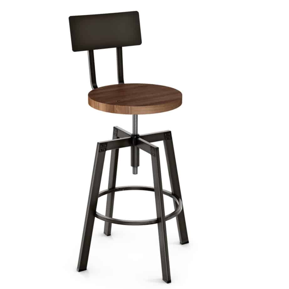 custom stool, metal, iron, steel, fabric, leather, distressed wood, solid birch, traditional, modern, urban, rustic, bar, pub, counter, island, kitchen, amiss, made in canada, architect stool