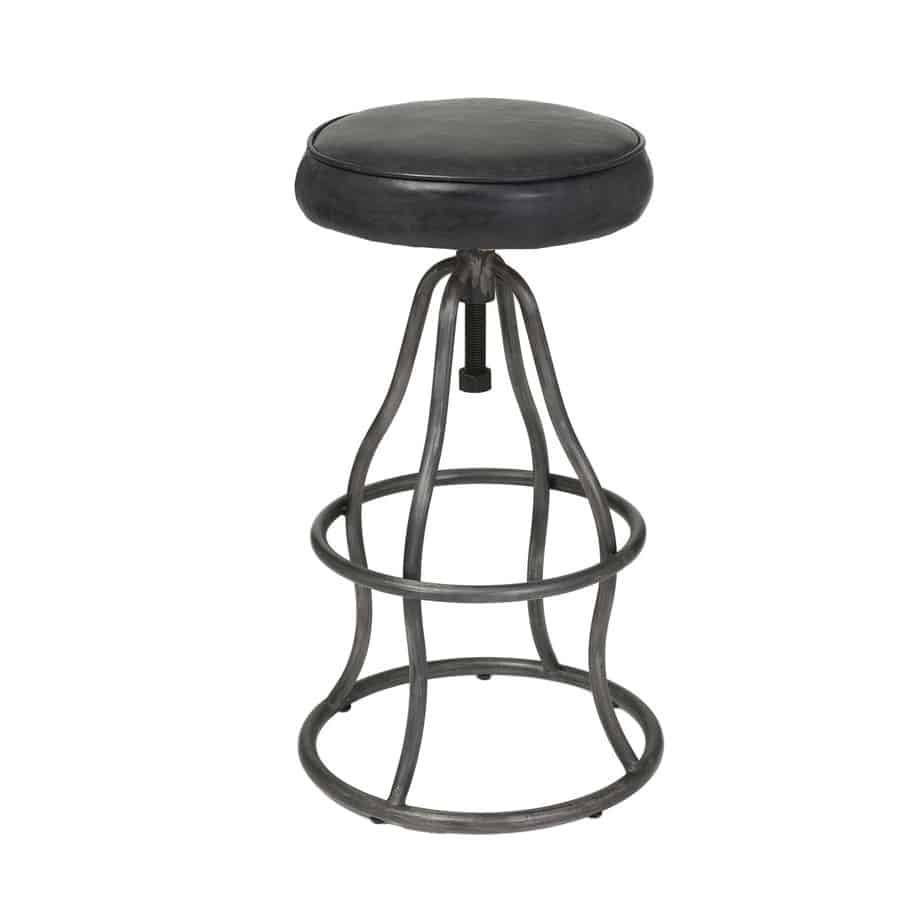 Bowie Industrial Stool, vinyl, leather, swivel, adjustable, counter, bar, pub, island, kitchen, rustic, metal, steel, urban, modern