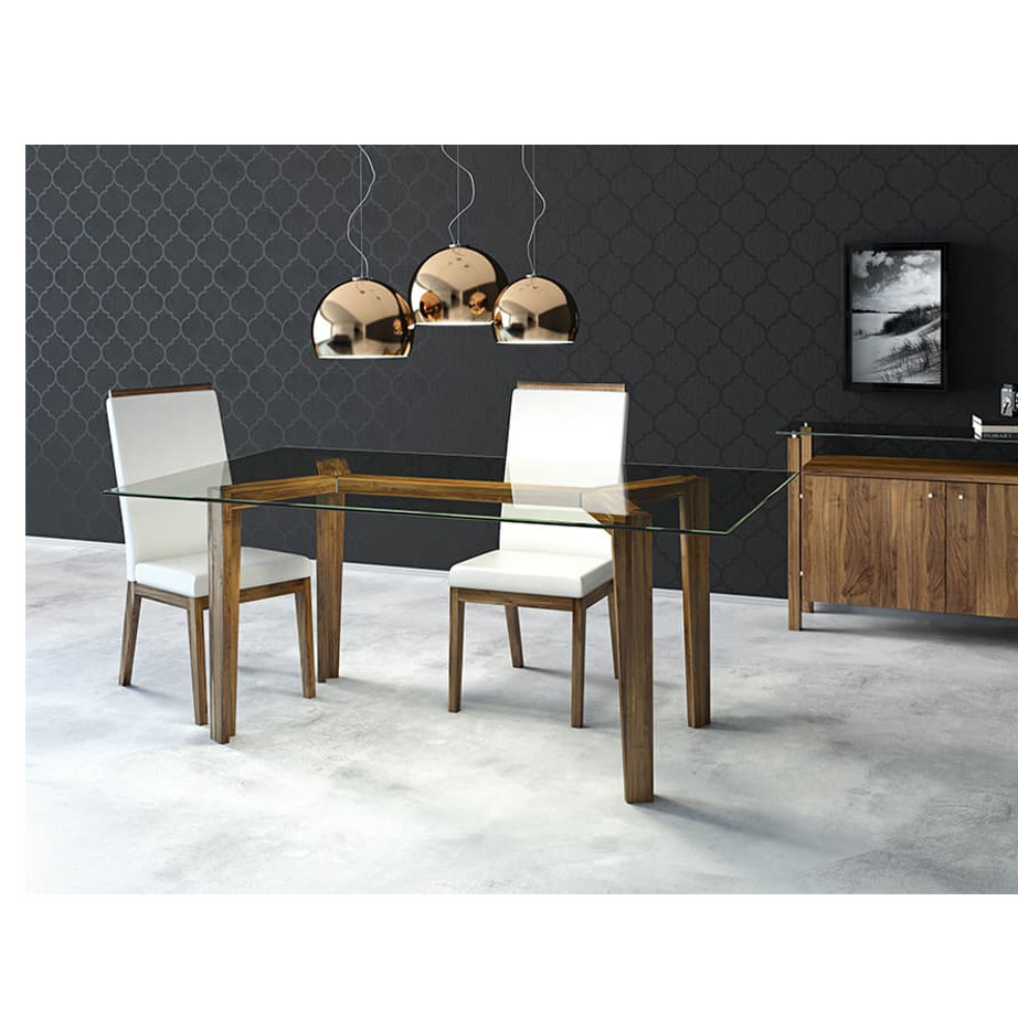 Dining Room, Leg Tables, birch, contemporary, made in canada, mid century, modern, solid wood, walnut, Modern, unique, several sizes, dining room ideas, VerBois, simple, raw, Brux Table, simple, extension table, Glass top, wood leaf, Brux Table Room, dining ideas