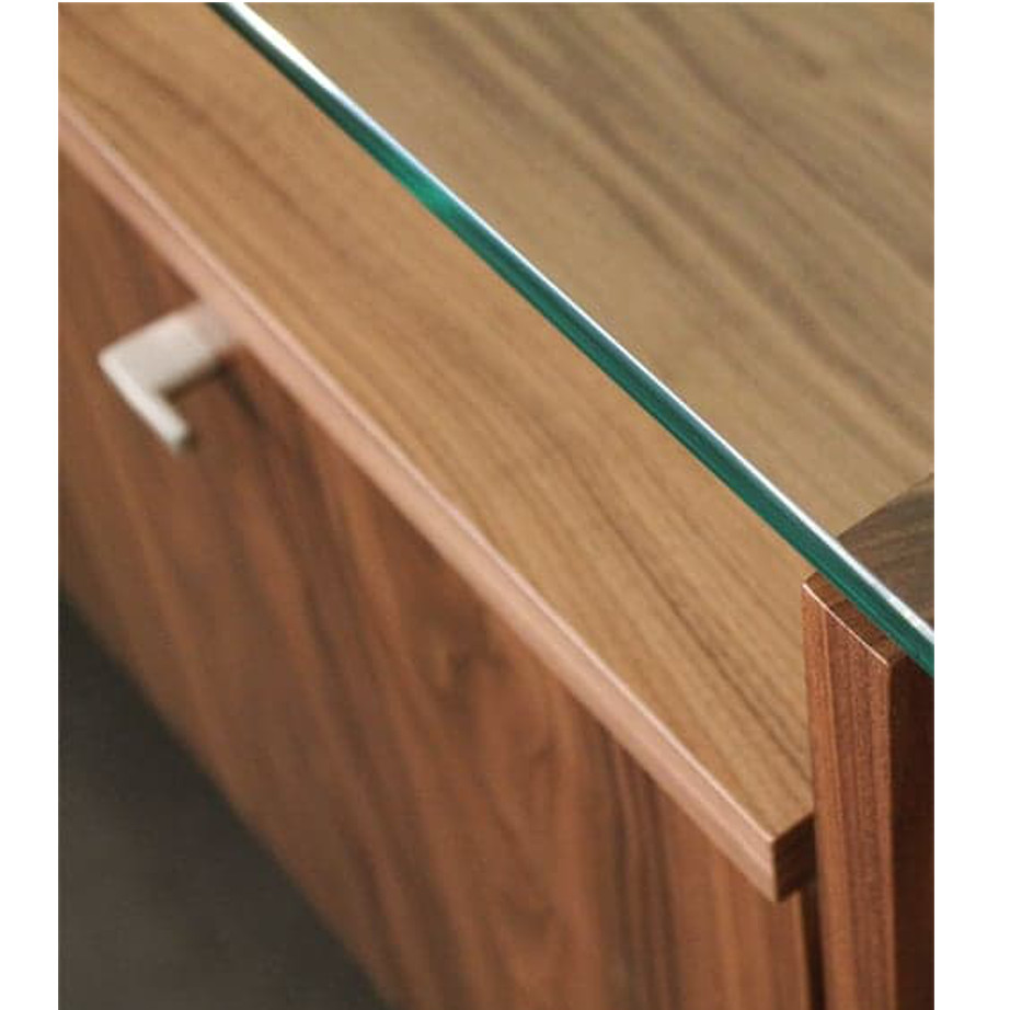 Dining Room, Cabinets, Storage Cabinets, birch, contemporary, glass, made in canada, mid century, modern, solid wood, verbois, walnut, dining room ideas, glass top, unique, modern, storage ideas, simple, unique, Cita Buffet, Cita Buffet Detail