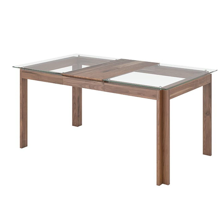 Dining Room, Leg Tables, birch, contemporary, made in canada, mid century, modern, solid wood, walnut, Modern, unique, several sizes, dining room ideas, VerBois, simple, raw, Cita Table, simple, extension table, Glass top, wood leaf,