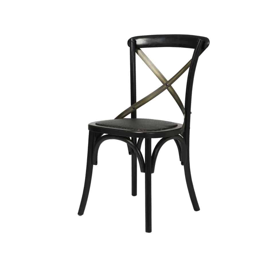 Cross Back Dining Chair, Black, dining chair, solid wood, urban, rustic, modern, industrial, rattan
