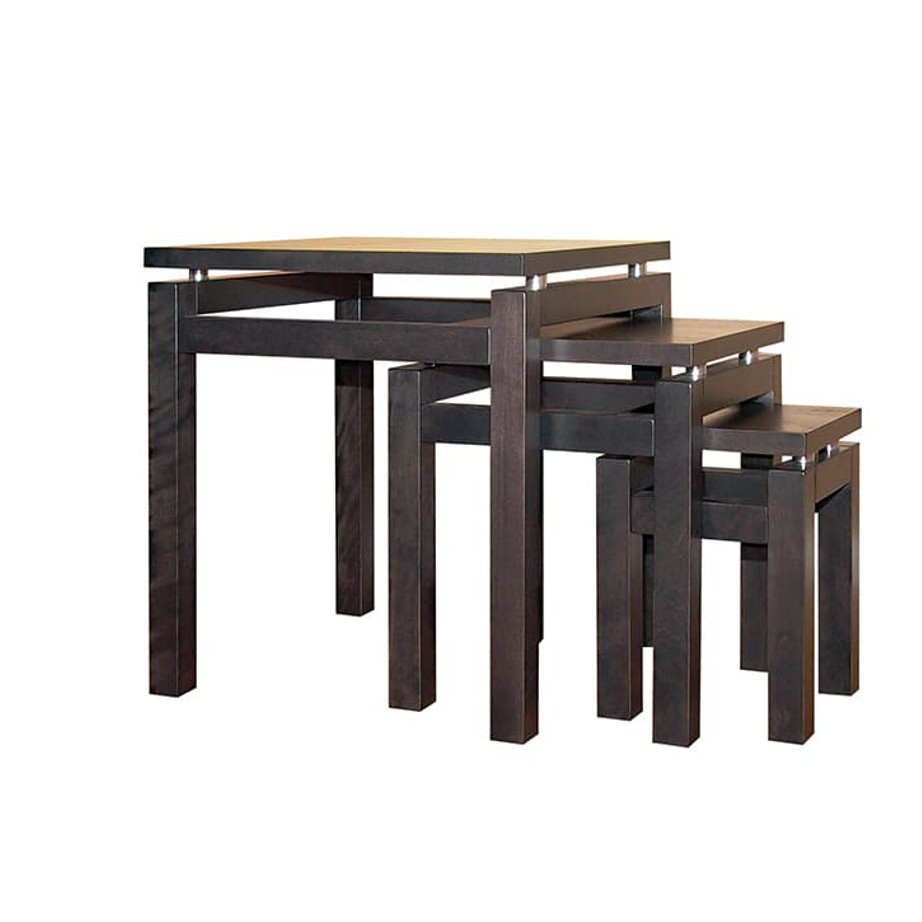 Occasional, End Table, Accents, Accent Furniture, birch, contemporary, glass, made in canada, mid century, modern, solid wood, walnut, living room ideas, unique, modern, verbois, custom stain, simple, Living Room, glass shelfs, Cubik Nesting Table, Cubik Nesting Table Wood Top