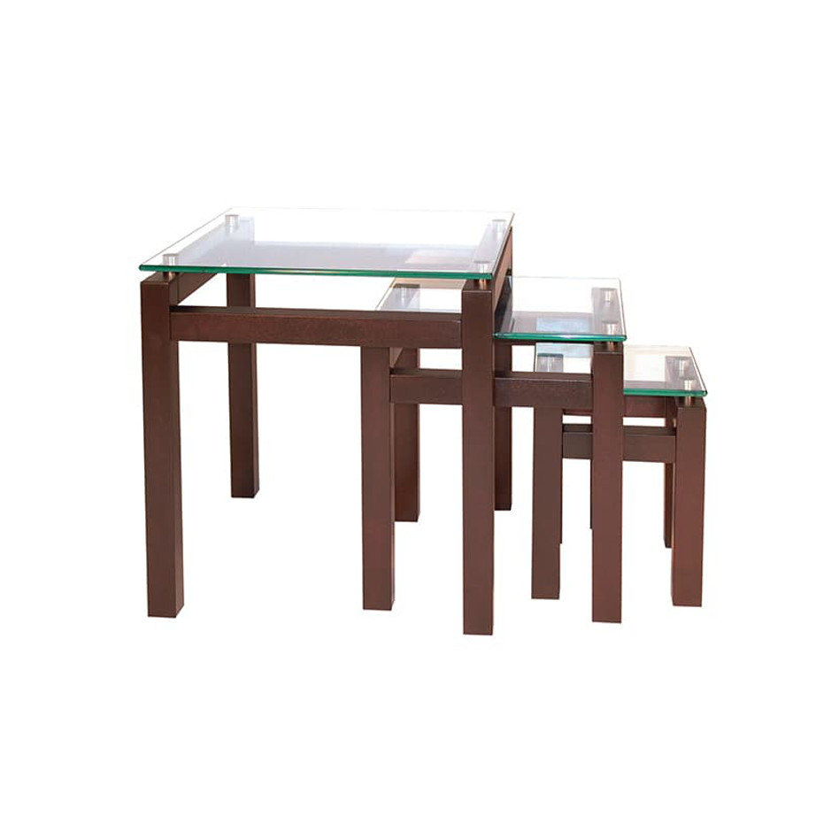 Occasional, End Table, Accents, Accent Furniture, birch, contemporary, glass, made in canada, mid century, modern, solid wood, walnut, living room ideas, unique, modern, verbois, custom stain, simple, Living Room, glass shelfs, Cubik Nesting Table