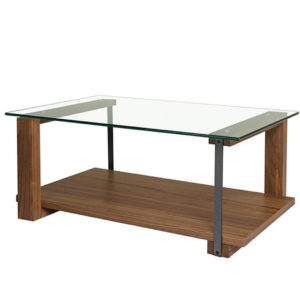Occasional, End Table, Accents, Accent Furniture, birch, contemporary, made in canada, mid century, modern, solid wood, walnut, living room ideas, unique, modern, verbois, custom stain, simple, Living Room, coffee table, glass, glass shelf, rectangle, square, raw metal, metal, metal accents, Diaz Coffee Table