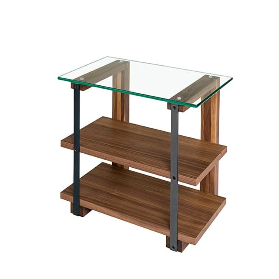 diaz end table, Occasional, End Table, Accents, Accent Furniture, birch, contemporary, glass, made in canada, mid century, modern, solid wood, walnut, living room ideas, unique, modern, verbois, custom stain, simple, Living Room, glass shelf, metal, metal accents, Raw Metal,