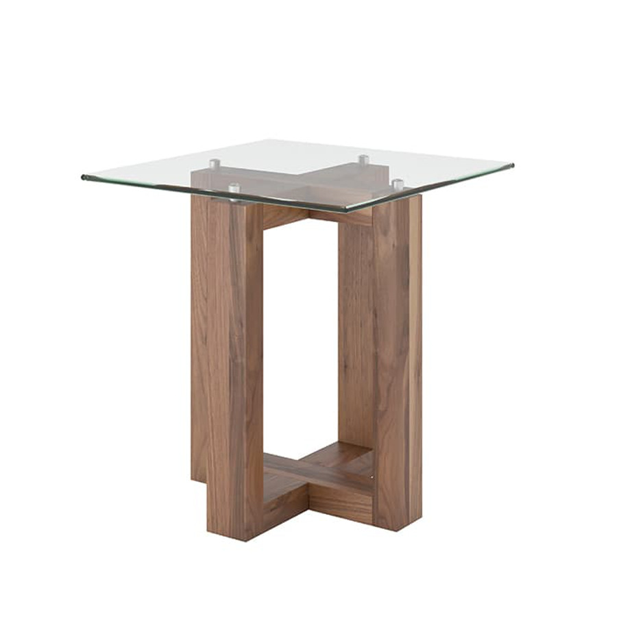 Occasional, End Table, Accents, Accent Furniture, birch, contemporary, glass, made in canada, mid century, modern, solid wood, walnut, living room ideas, unique, modern, verbois, custom stain, simple, Living Room, glass shelf, Eol End Table, Eol End Table Square