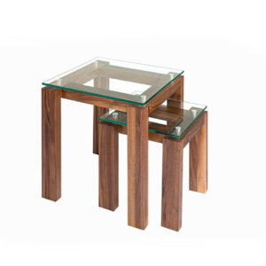 Occasional, End Table, Accents, Accent Furniture, birch, contemporary, glass, made in canada, mid century, modern, solid wood, walnut, living room ideas, unique, modern, verbois, custom stain, simple, Living Room, glass shelfs, MPD Nesting Tables
