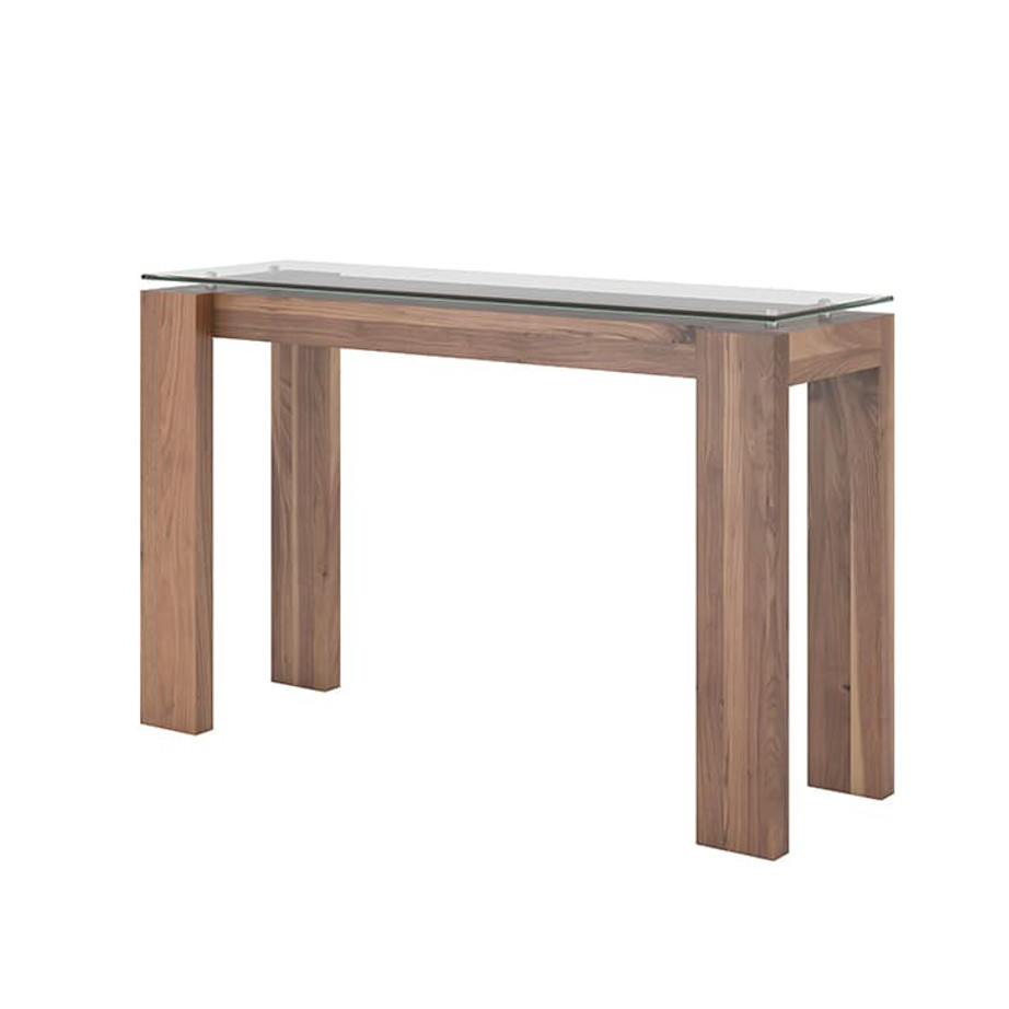 Living Room, Occasional, Sofa Tables, Accents, Accent Furniture, birch, console, contemporary, custom table, entry way, glass, hall table, made in canada, mid century, modern, solid wood, walnut, living room ideas, glass, console, VerBois, MPD Console Table, unique, simple