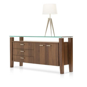 Dining Room, Cabinets, Storage Cabinets, birch, contemporary, glass, made in canada, mid century, modern, solid wood, verbois, walnut, dining room ideas, glass top, unique, modern, storage ideas, Mika Buffet