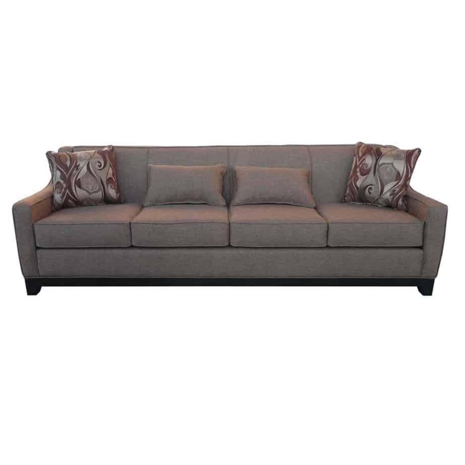 natalie sofa, elite sofa, love seat, custom sofa, made in canada, custom sofa, fabric, modern, traditional, natalie long sofa, solid back, tight back, 4 seat, wood base