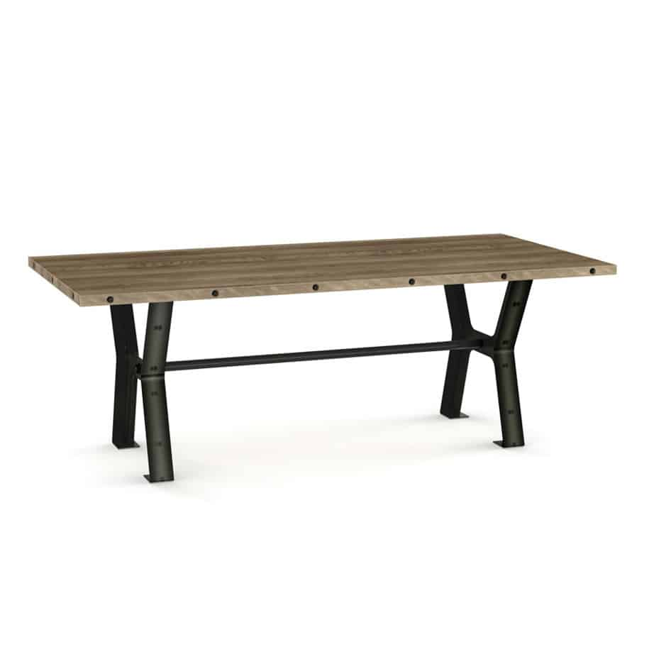 amisco, contemporary, customizable, extension table, glass, leaf, made in canada, metal, round square, rustic wood, rustic, unique, distressed, simple, customizable, Dining Room, Parade Table, Parade, Table, birch, modern, urban, iron, steel,