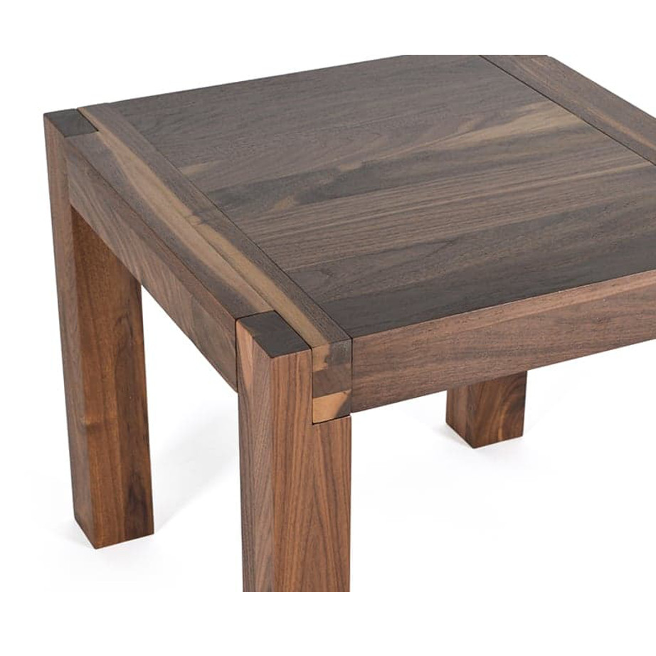 Occasional, End Table, birch, contemporary, glass, made in canada, mid century, modern, rustic walnut, solid wood, walnut, living room ideas, unique, modern, verbois, custom stain, Sim End Table, Sim End Table Deatil