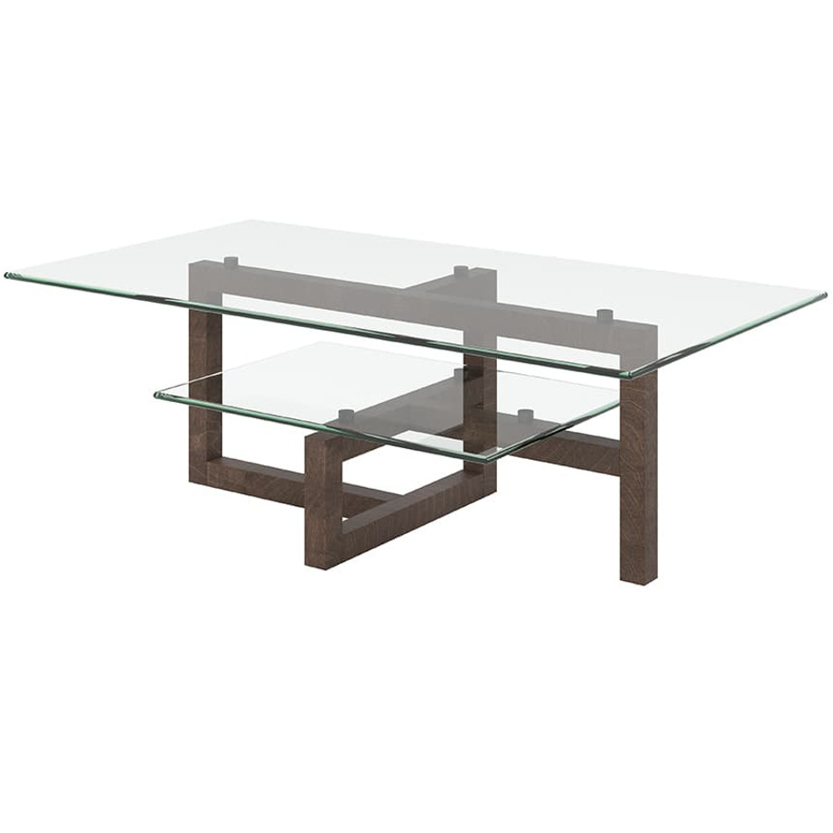 Tekno Coffee Table, Occasional, End Table, Accents, Accent Furniture, birch, contemporary, glass, made in canada, mid century, modern, solid wood, walnut, living room ideas, unique, modern, verbois, custom stain, simple, Living Room, coffee table, Glass shelfs,