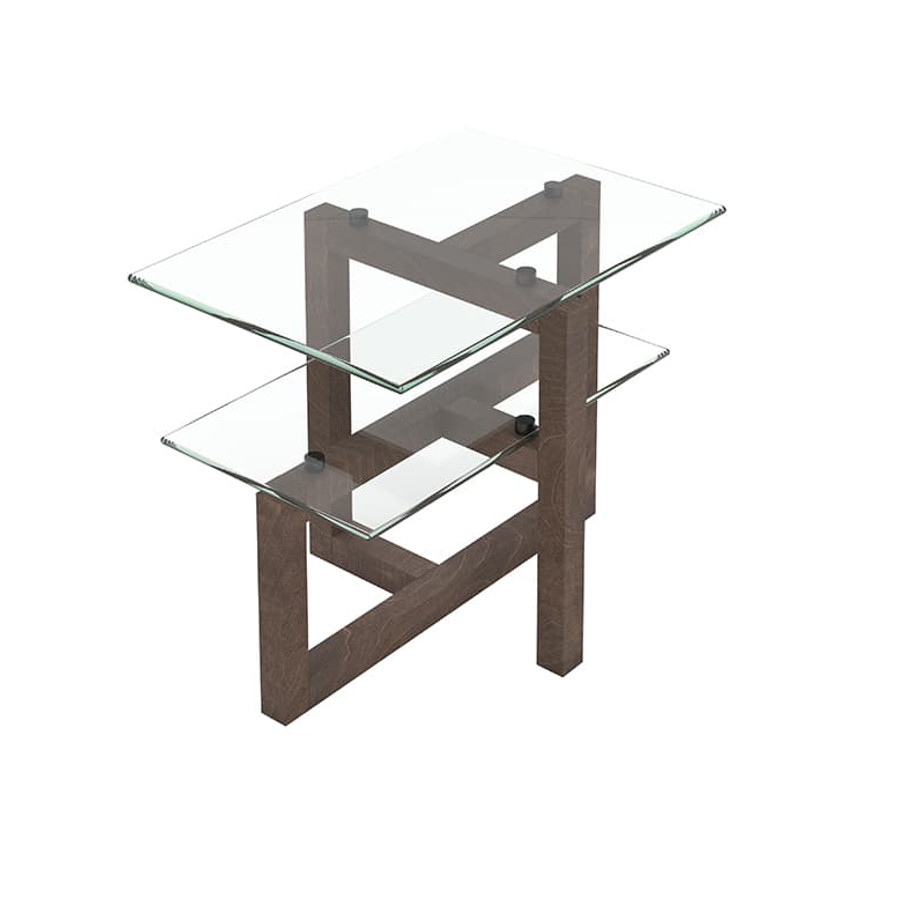 Occasional, End Table, birch, contemporary, glass, made in canada, mid century, modern, rustic walnut, solid wood, walnut, living room ideas, unique, modern, verbois, custom stain, Tekno End Table, Glass shelfs, Tenko End Table A