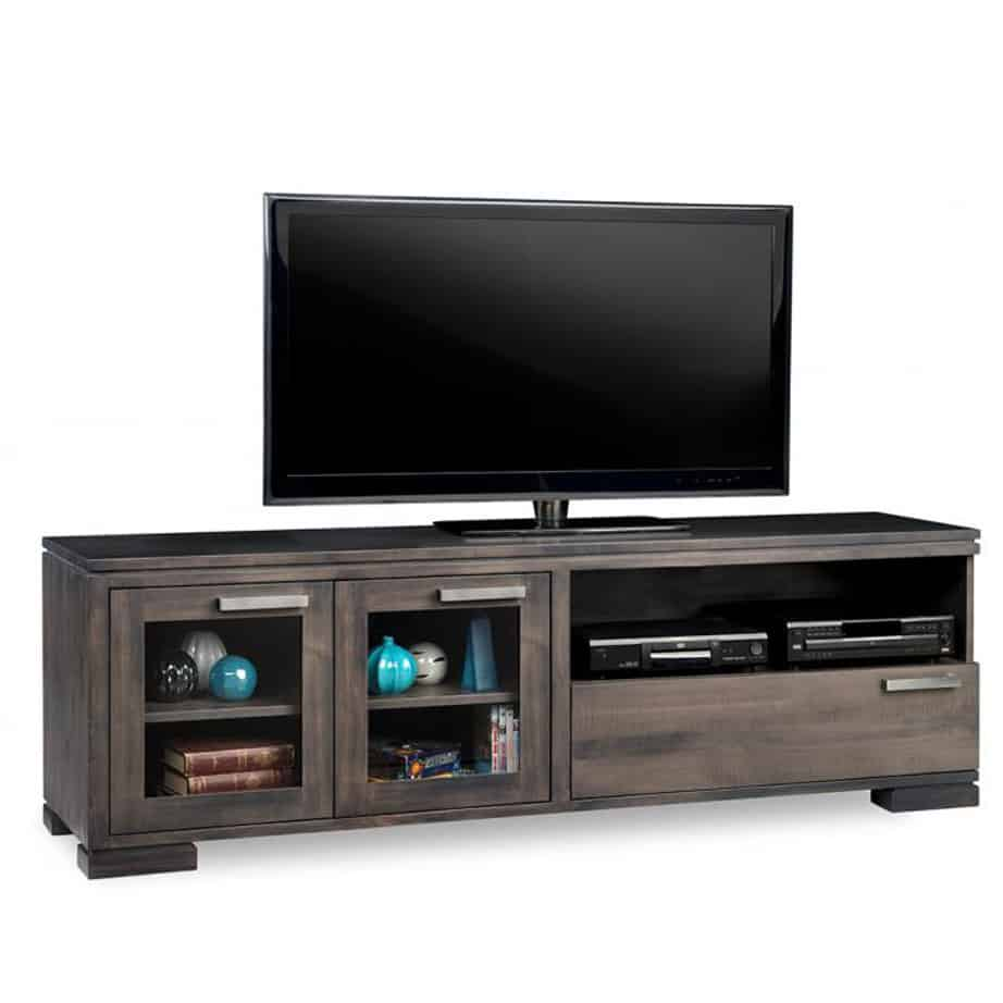 cordova 72 tv console, custom tv console, handstone, solid wood furniture, rustic wood furniture, maple, oak, made in canada, canadian made, customizable, contemporary, modern, urban