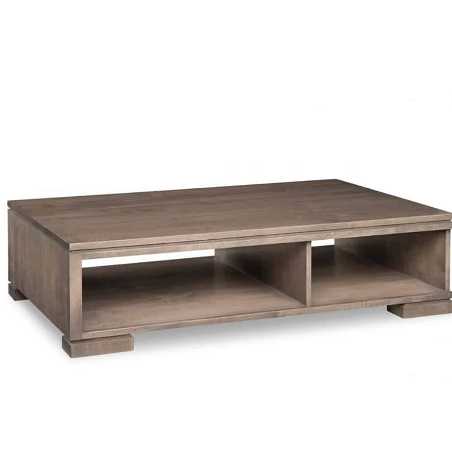 cordova coffee table, handstone, solid wood, rustic wood, made in canada, canadian made, living room table, drawers, open shelf table